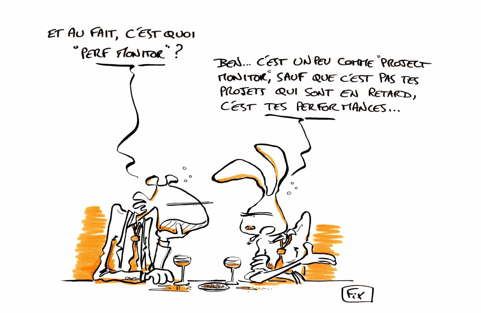 dessin fix - caricature - perf monitor - retards - délais - project monitor