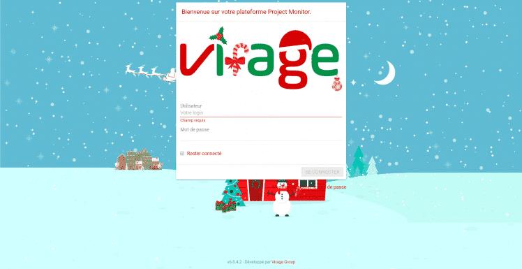 noël - page de connexion - personnalisation - skin - thématique - project monitor - Virage group