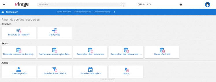 paramétrage - calendriers - ressources - administration - gestion de projets - saisie d'activité - profils