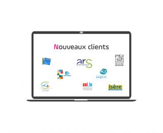 Nouveaux clients - SEMIPER - ARS - Boulogne Billancourt - Université angers - conseil départemental isère - CH le vinatier - ville de Saint-Nazaire - université du luxembourg - logo - clients