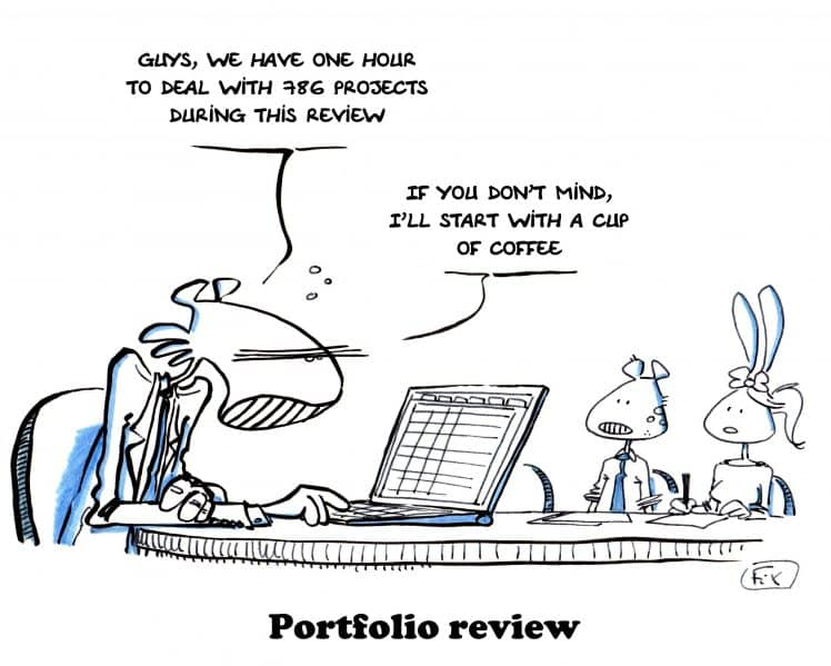 Portfolio review - project management - cup of coffee