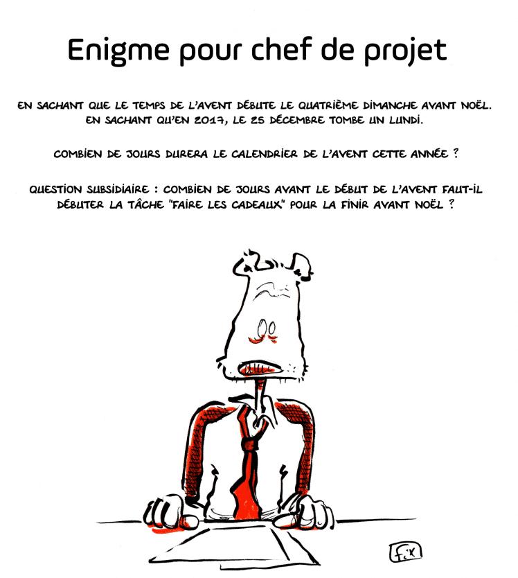 Oeil de fix - caricature - chef de projet - énigme - calendrier de l'avent - gestion des tâches
