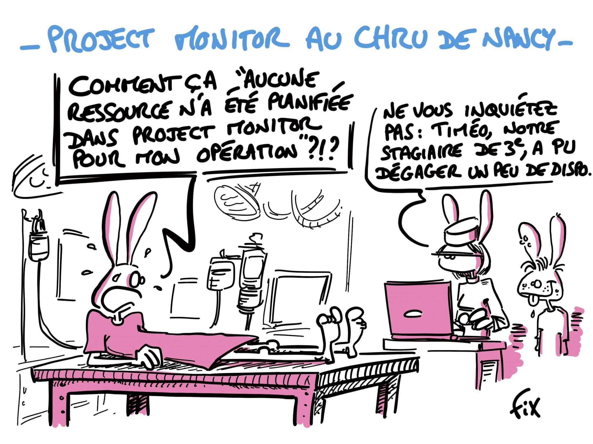 Caricature de FIX - PM au CHRU de Nancy